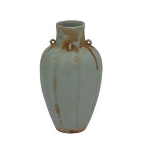 Celadon Fluted Four Ear Vase