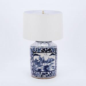 Table Lamp Dynasty Tea Jar Floral Landscape Medallion