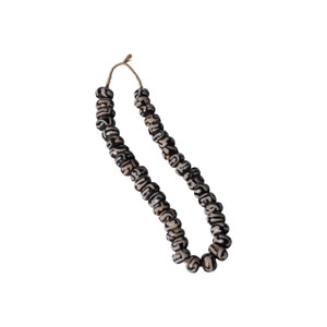 Black And White Batik Bone Bead Swirls Per String