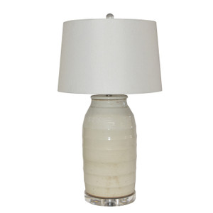 Busan White Flat Lidded Jar S Lamp