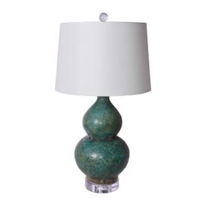 Speckled Green Gourd Vase Lamp
