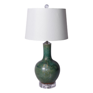 Speckled Green Globular Vase Lamp