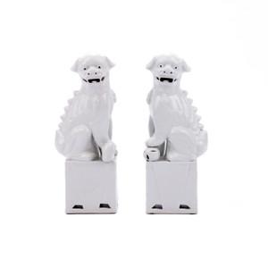 Porcelain Sitting Foo Dog Pair White - 3 Sizes