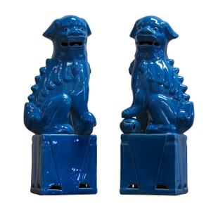 Porcelain Sitting Foo Dog Pair Turquoise- 3 Sizes
