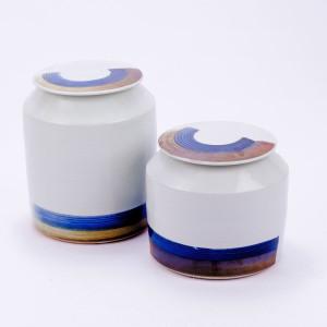 Blue & White Porcelain Brushstroke Surrounding Cylinder Jar - 2 Sizes