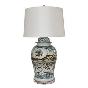 Blue And White Sea Flower Porcelain Temple Jar Lamp