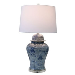 Blue And White Porcelain Chain Temple Jar Lamp - 2 Sizes