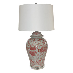 Coral Red Fish Temple Jar Table Lamp
