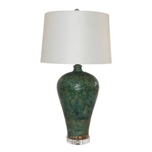 Speckled Green Carved Dragon Plum Vase Lamp