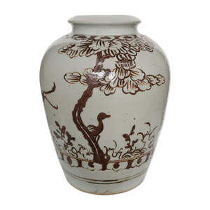 Open Top Porcelain Jar With Brown Bird Motif