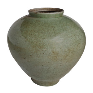 Large Celadon Crackle Cone Shaped Jar