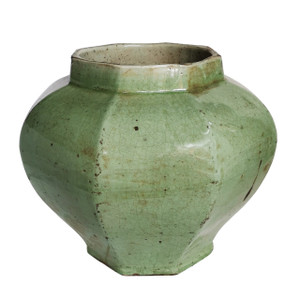Celadon Crackle Octagonal Jar