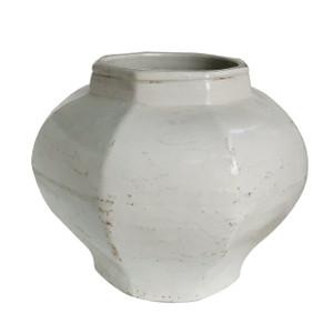 White Crackle Octagonal Jar