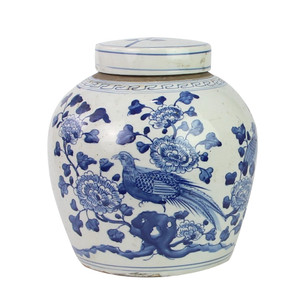 Blue And White Ming Jar Flower Bird Motif