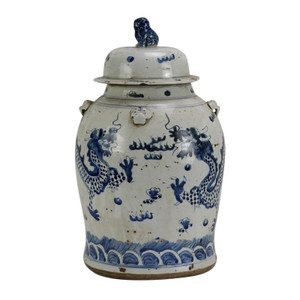 Vintage Temple Jar Dragon Motif - 2 Sizes