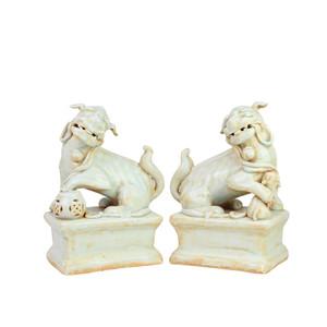 Pair of Celadon Peking Lion Statues
