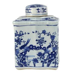 Blue And White Curved Tea Jar Bird Floral Design