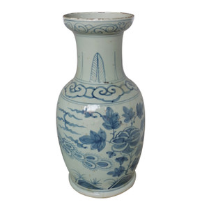 Blue And White Bird Vase With Dish-shaped Mouth
