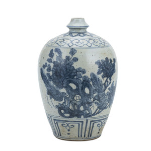 Blue And White Garlic Head Vase Flower Bird Motif