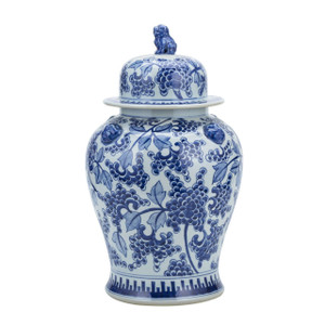 Blue And White Peony Temple Jar With Lion Handles