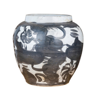 Black Porcelain Twisted Flower Wide Open Top Jar