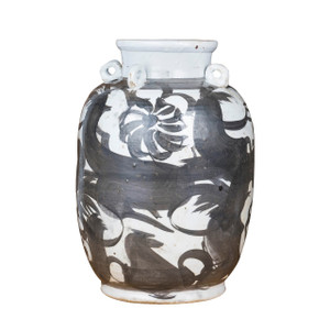 Black Four Loop Handle Jar Twisted Flower Motif
