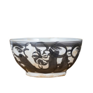 Black Porcelain Bowl Twisted Flower Motif