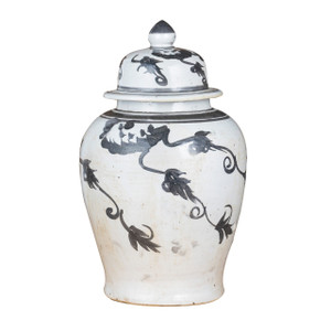 Black Temple Jar Vine Motif