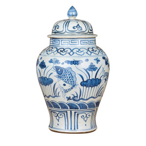 Blue And White Small Porcelain Temple Jar Fish Lotus Motif