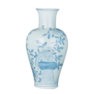 Blue And White Fairy Vase Pheasant Flower Motif