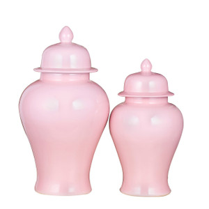 Blush Pink Porcelain Temple Jar - 2 Sizes