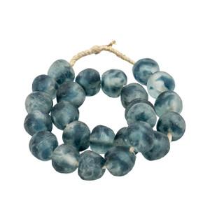 Vintage Sea Glass Beads  Frosty Blue - 2 Sizes