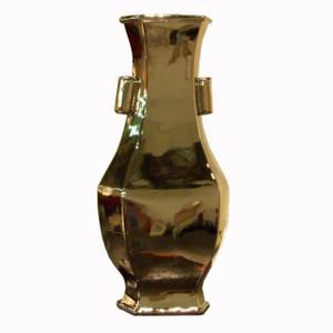 Wide Lipped Hexagonal Porcelain Vase - Silver
