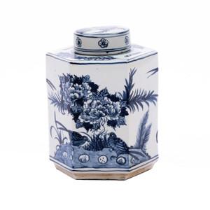 Blue & White Hexagonal Flower Bird Tea Jar