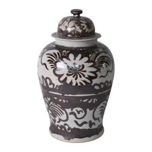 Brown Silla Flower Temple Jar