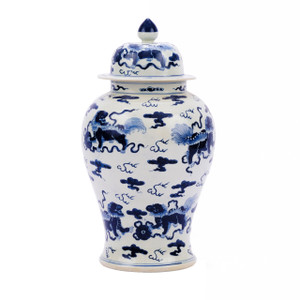 Blue & White Porcelain Foo Dog Temple Jar