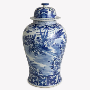 Blue And White Porcelain Temple Jar Blossom Garden With Birds