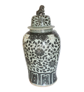 Black Vine Lion Lid Temple Jar Large