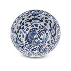 Blue And White Fish Lotus Bowl