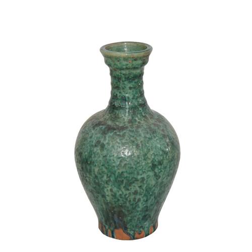 Speckled Green Ridged Neck Vase