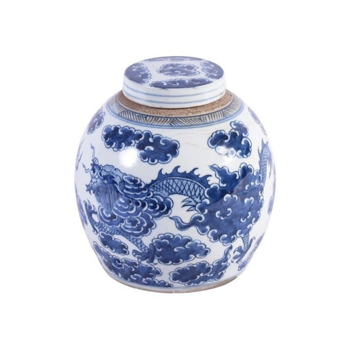 Blue & White Dragon Cloud Ancestor Jar