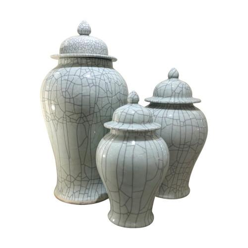 Crackled Celadon Temple Jar - 3 sizes