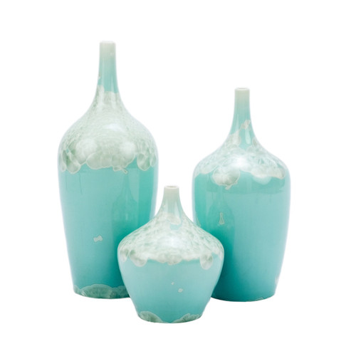 Contemporary Green Crystal Shell Vases - Set of 3