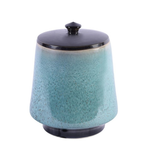 Reaction Glaze Crackled Blue Lidded Porcelain Jar - 2 Sizes