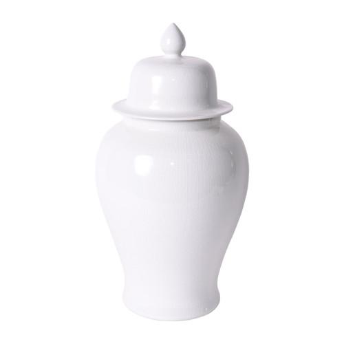 Temple Jar White Crackle - M