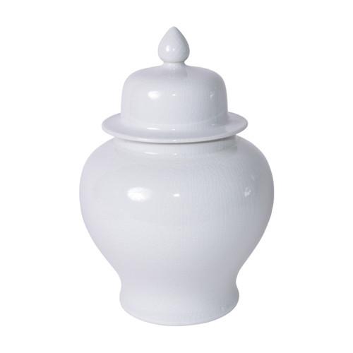 Temple Jar White Crackle - S