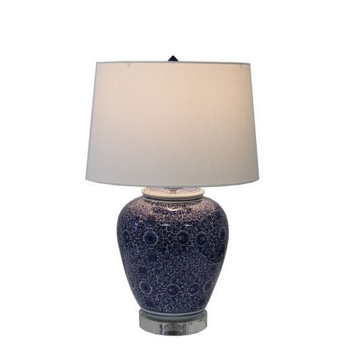 Blue and White Cluster Flower Table Lamp