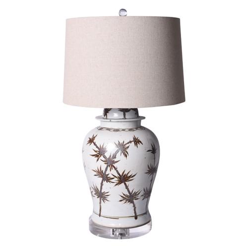 Rusty Brown Temple Jar Table Lamp Brown Linen Shade