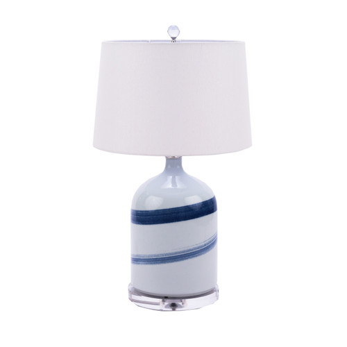 Blue and White Brushstroke Spin Table Lamp