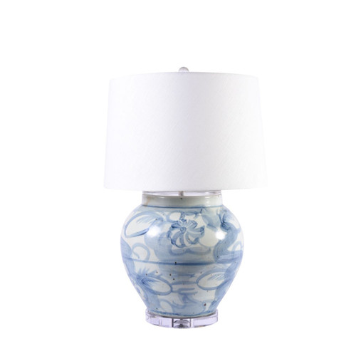 Blue & White Twisted Flower Open Top Jar Lamp